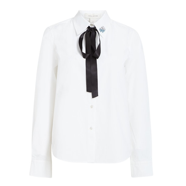 53f38e194f8d Marc Jacobs Shirts, Solid White Black Bow Tie Shirt for Women at ...