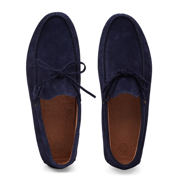 22c927efecf Hudson Shoes, Navy Suede Tie Up Driver Loafers for Men at ...