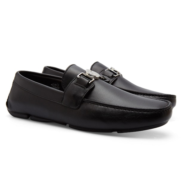 a3a59065d5 Versace Collection Shoes, Black Napa Leather Loafers With Medusa ...