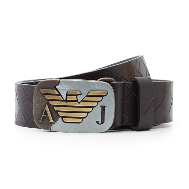 258ecbcb Armani Jeans Belts & Buckle, Black Diamond Etched Belt With Eagle ...