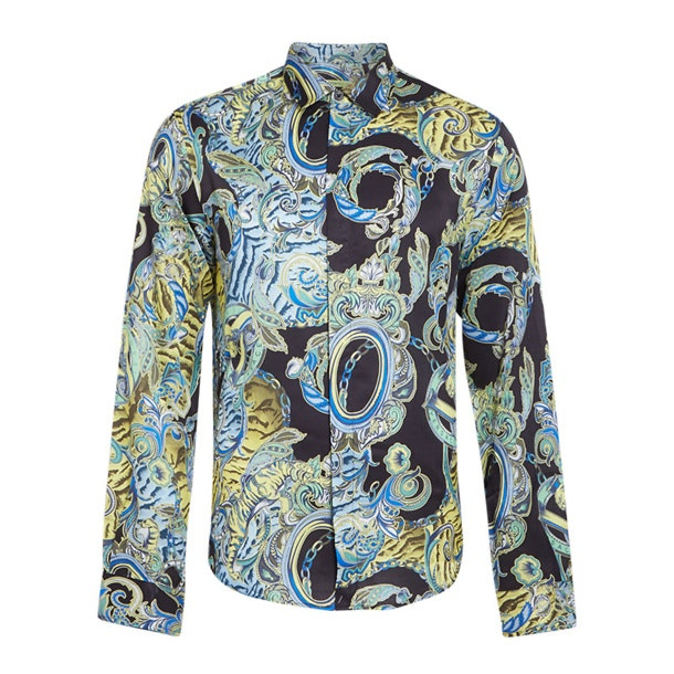 814a343b Versace Jeans Casual Shirts, Black Chains Colourful Shirt for Men at ...