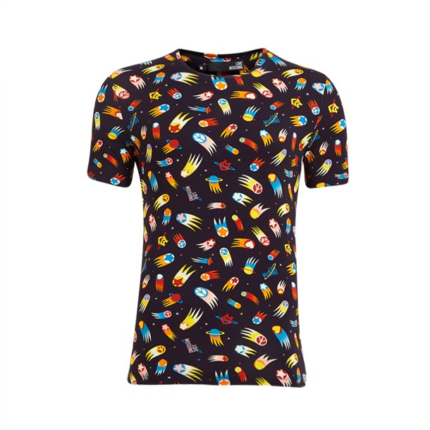 dd4e6764b Love Moschino T-Shirts, Black Colourful Comet T-Shirt for Men at ...