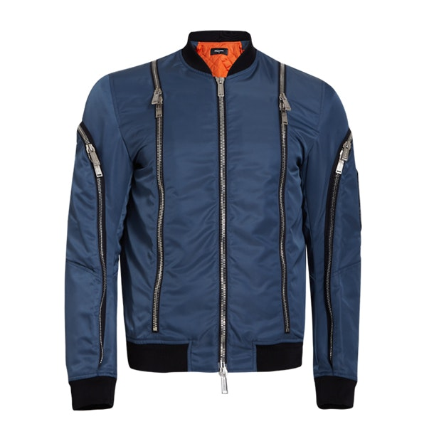 048ca254f Dsquared 2 Jackets And Coats, Blue Multi-Zip Bomber Jacket for Men ...