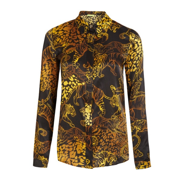 4e0f5b3034 Versace Jeans Shirts, Black Silk Tiger Shirt for Women at ...