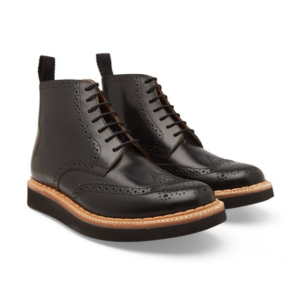 0fe0b880f0e Grenson Shoes, Black Sharp Crackle Leather Brogue Boots for Men at ...