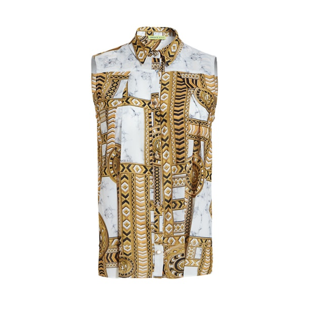 5133a162f Versace Jeans Tops, Silk Printed Sleeveless Shirt for Women at ...