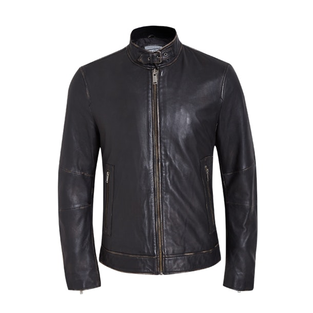 a5dadd872 Chevignon Jackets And Coats, Black Two Tone Leather Jacket for Men ...