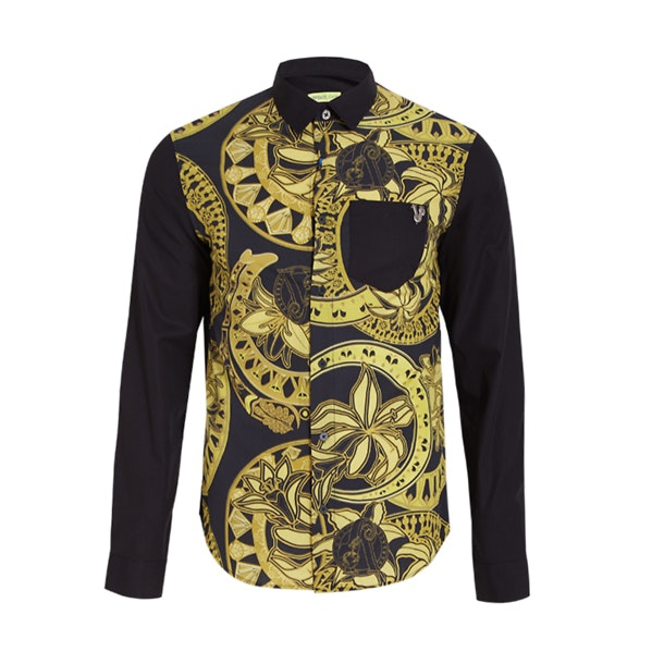 442a9aa7 Versace Jeans Casual Shirts, Black And Gold Printed Shirt for Men at ...
