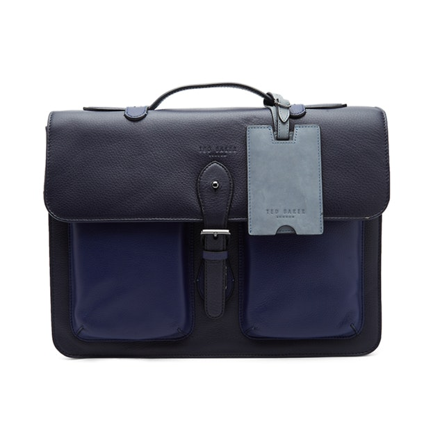 f7e0c8feb66 Ted Baker Bags, QUINT Navy Leather Satchel for Men at Thecollective.in