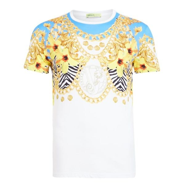 8b41ba9a Versace Jeans T-Shirts, White Floral Chain Print T Shirt for Men at ...