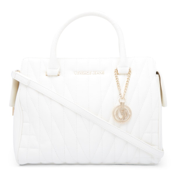 2b4cd43609 Versace Jeans Bags, White Quilted VJ Charm Bag for Women at ...