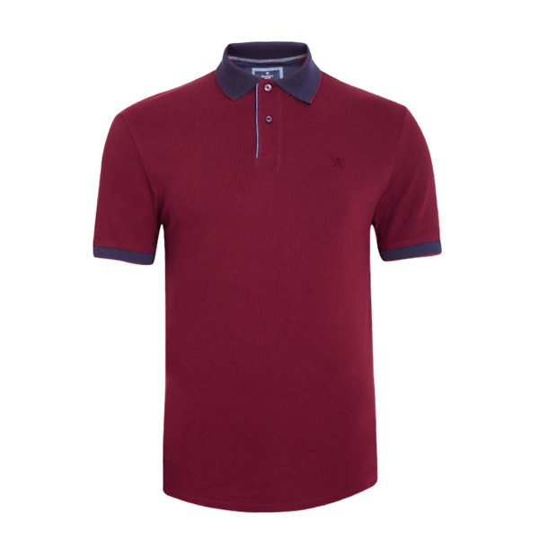 3ed9773d Hackett Polos, Burgundy Contrast Collar Cuffs Polo T-Shirt for Men ...