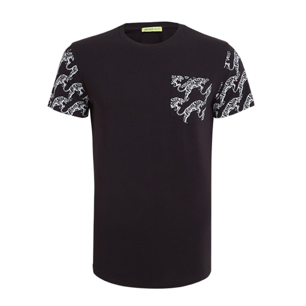 6f079942 Versace Jeans T-Shirts, Black Jumping Tiger Print Pocket And Sleeves ...