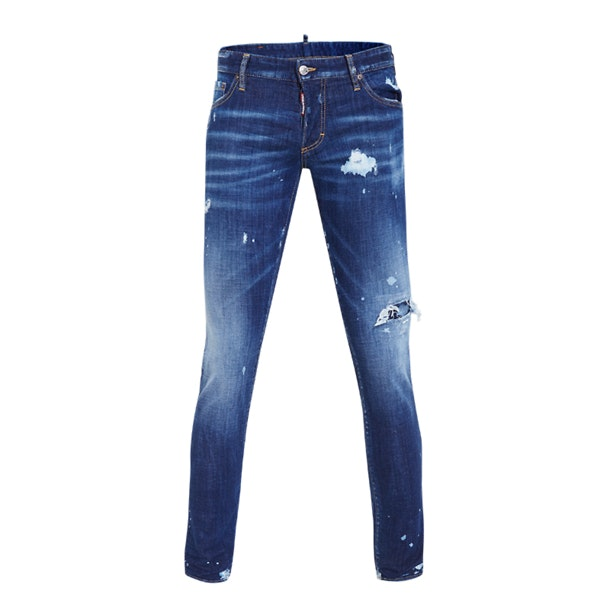 ac55146d09 Blue Bleached Distressed Jeans