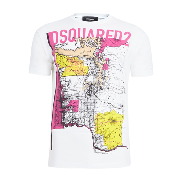 d637dcda Dsquared 2 T-Shirts, White Pink Map T Shirt for Men at Thecollective.in