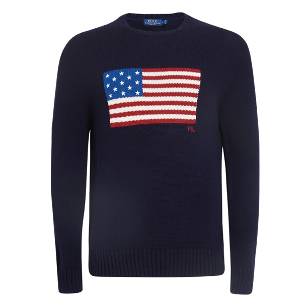 6d46ed63530 Polo Ralph Lauren Knitwear, Navy US Flag Sweater for Men at ...