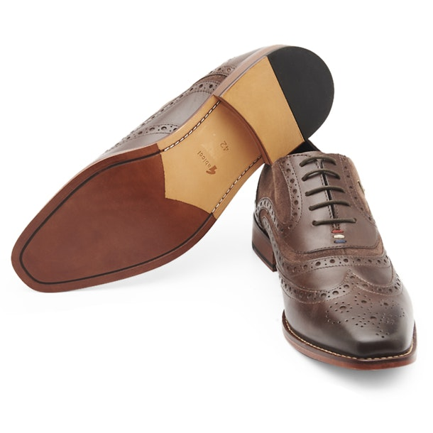 Gabicci Shoes, Brown Wingtrip Brogue Derby for Men at