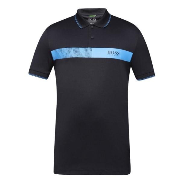 4314662b2 Hugo Boss Green Polos, Black Polo With Contrast Blue Stripe for Men ...