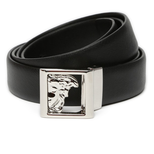 3b0fd32a53 Versace Collection Belts And Buckle, Black Half Medusa Square Buckle ...