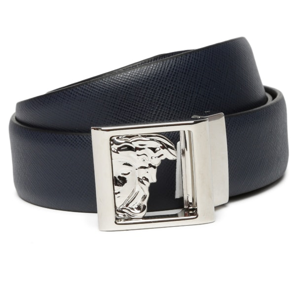 7e5a3f4a Versace Collection Belts And Buckle, Navy Half Medusa Square ...