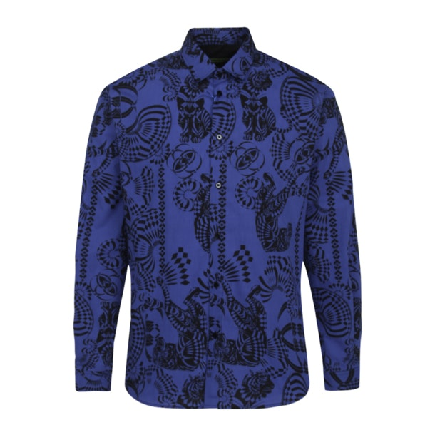 decbbf80 Versace Jeans Casual Shirts, Blue Printed Shirt for Men at ...