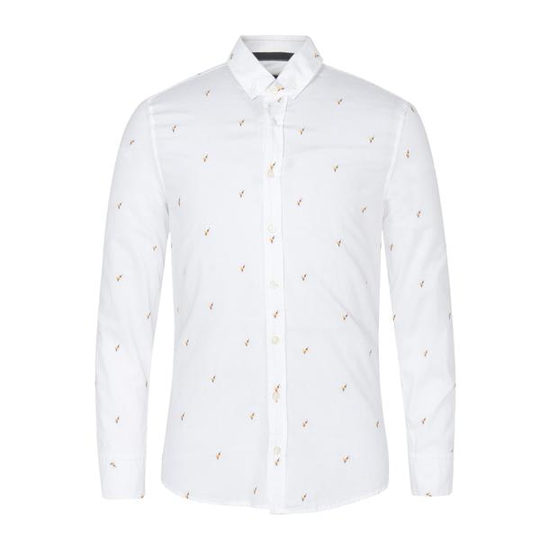 8c5bbbd42 Hugo Boss Orange Casual Shirts, White Embroidered Casual Shirt for ...