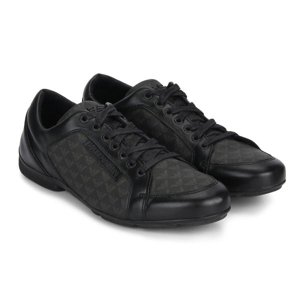 d04e6a41d Emporio Armani Shoes, Black Logo Sneakers for Men at Thecollective.in