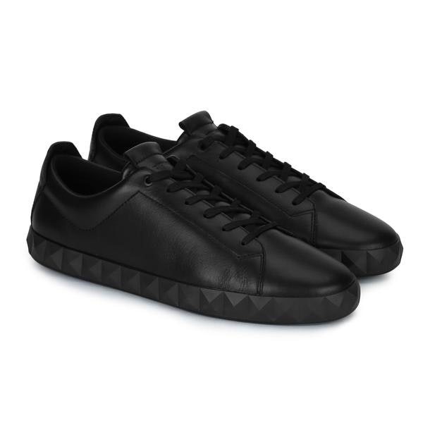 9f87af1a74 Emporio Armani Shoes, Black Leather Sneakers for Men at Thecollective.in