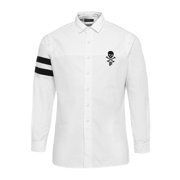 13803c12f Polo Ralph Lauren Casual Shirts, White Skull Embroidered Shirt for ...