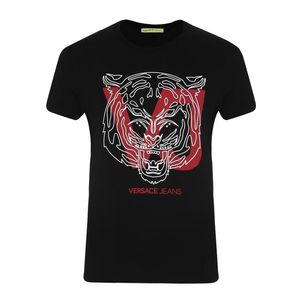 3b0ecc0be2d635 Versace Jeans T-Shirts, Black Tiger Face T Shirt for Men at ...