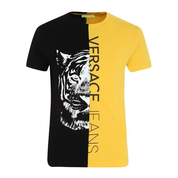 09890711 Versace Jeans T-Shirts, Yellow Colour Blocked Printed T Shirt for ...