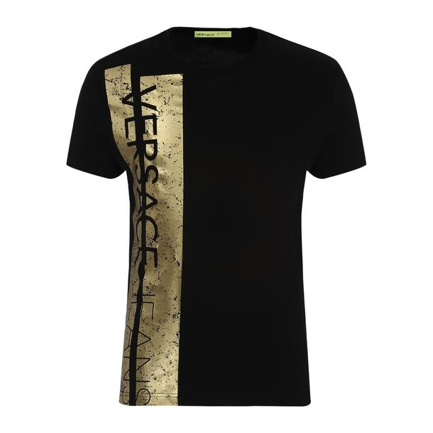 b417a4a0 Versace Jeans T-Shirts, Black Golden Panelled T Shirt for Men at ...