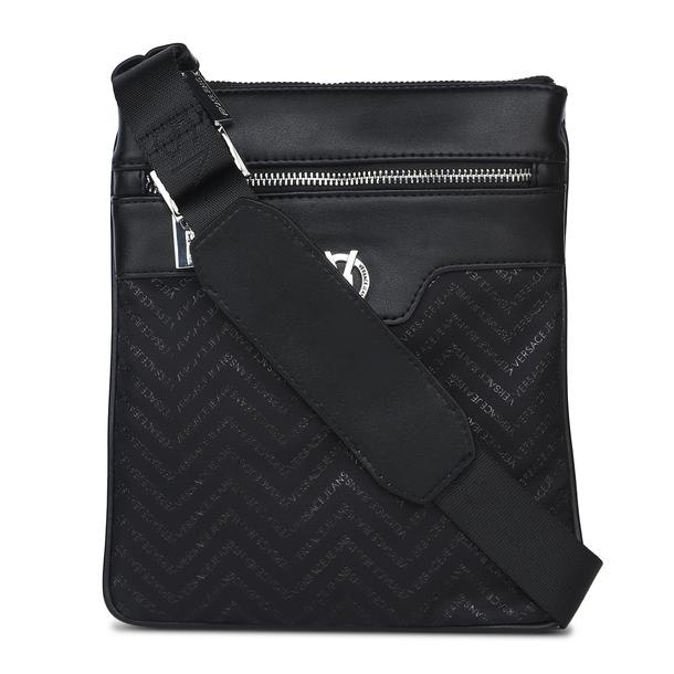 a3caac5f Versace Jeans Bags, Black Printed Flight Bag for Men at Thecollective.in
