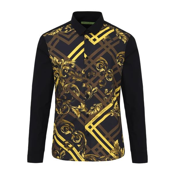 3fc3446f Versace Jeans Casual Shirts, Black Printed Casual Shirt for Men at ...