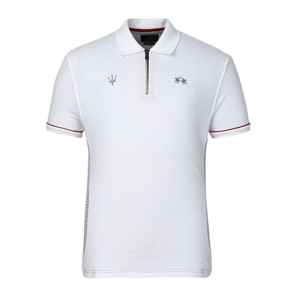 2119949c76 La Martina Polos, White Front Zip Logo Polo for Men at Thecollective.in