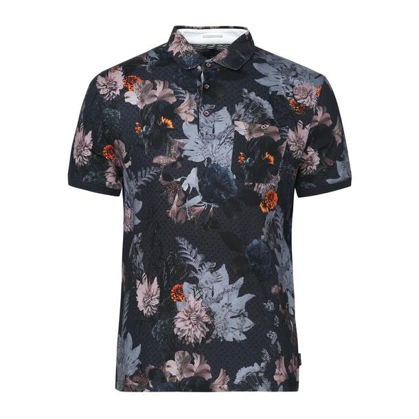 58d2f2d2ea4bc Ted Baker Polos, Navy Tropical Print Polo for Men at Thecollective.in