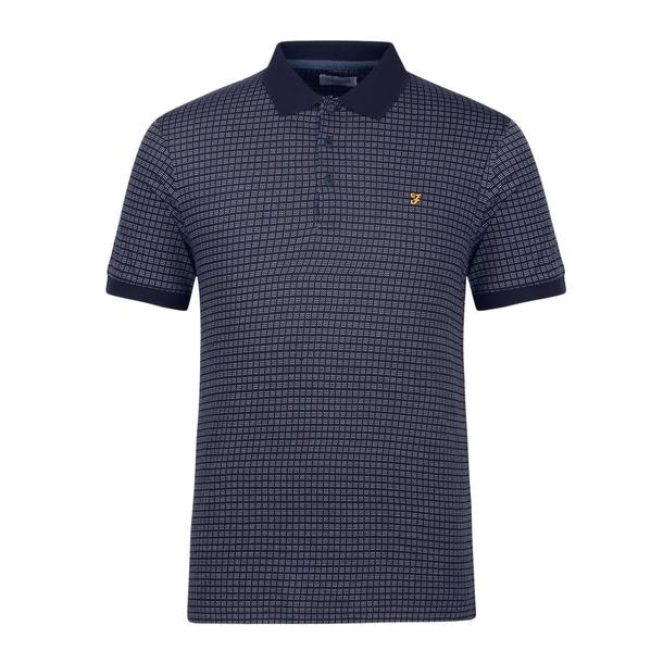 3941c007 Farah Polos, Navy Jacquard Polo for Men at Thecollective.in