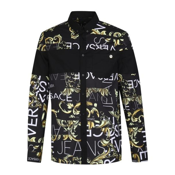 b4ee557237 Versace Jeans Casual Shirts, Black Baroque Print Shirt for Men at ...