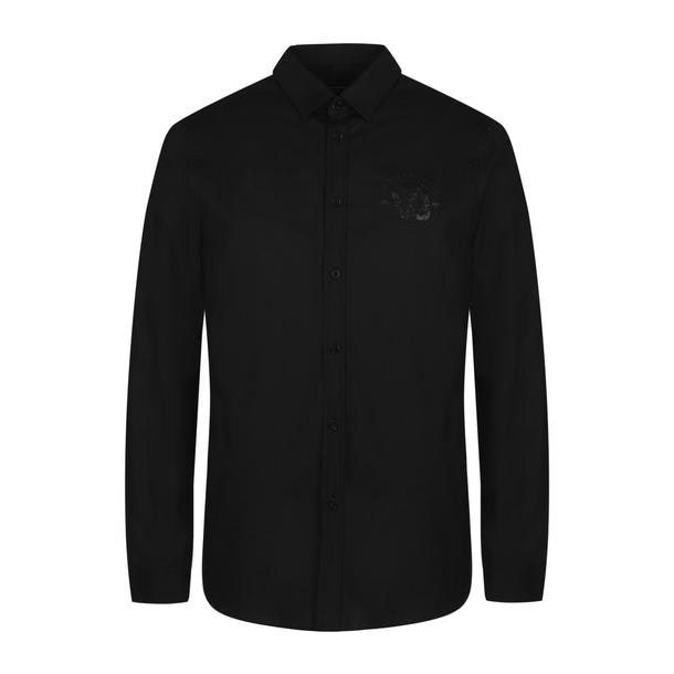 56871988 Versace Jeans Casual Shirts, Black Embroidered Casual Shirt for Men ...