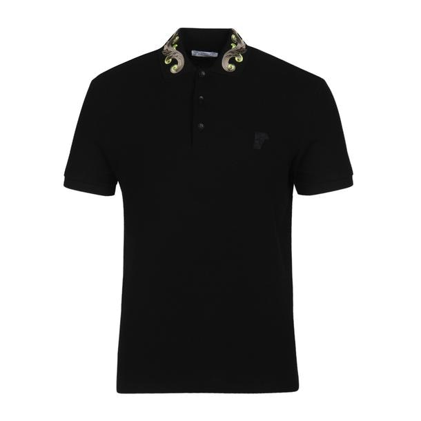 8595b343 Versace Collection Polos, Black Baroque Embroidered Polo for Men at ...