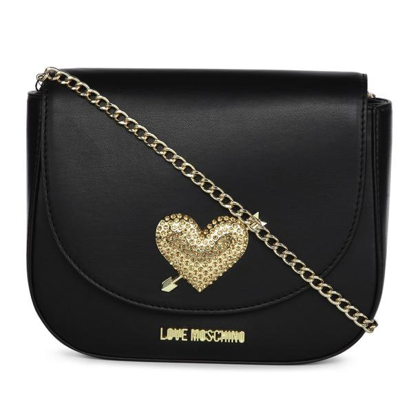 f2525f0ae54 Love Moschino Bags, Black Riveted Satchel Bag for Women at ...