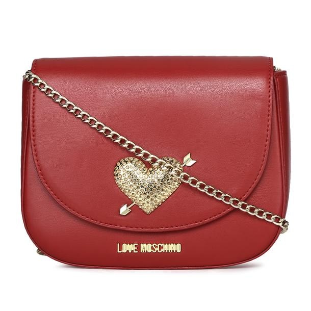 38e9e669ad RECOMMENDATIONS. Red Two Tone Quilted Messenger Bag. Love Moschino