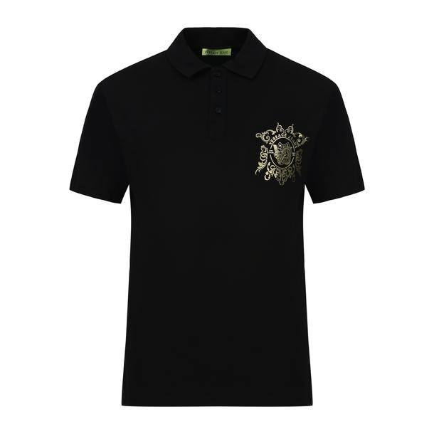17186d98c Versace Jeans Polos, Black Logo Printed Polo for Men at Thecollective.in