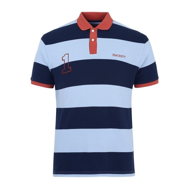 60830e40 Hackett London Polos, Blue Striped Polo for Men at Thecollective.in