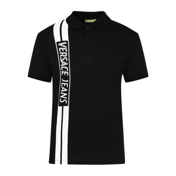 9aa596ba Versace Jeans Polos, Black Brand Printed Polo for Men at ...