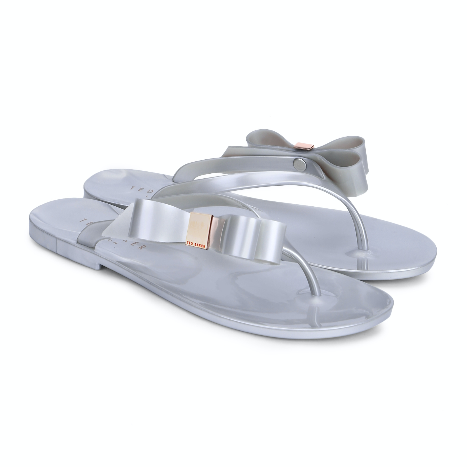 Ted Baker Shoes, silver bow flip-flops