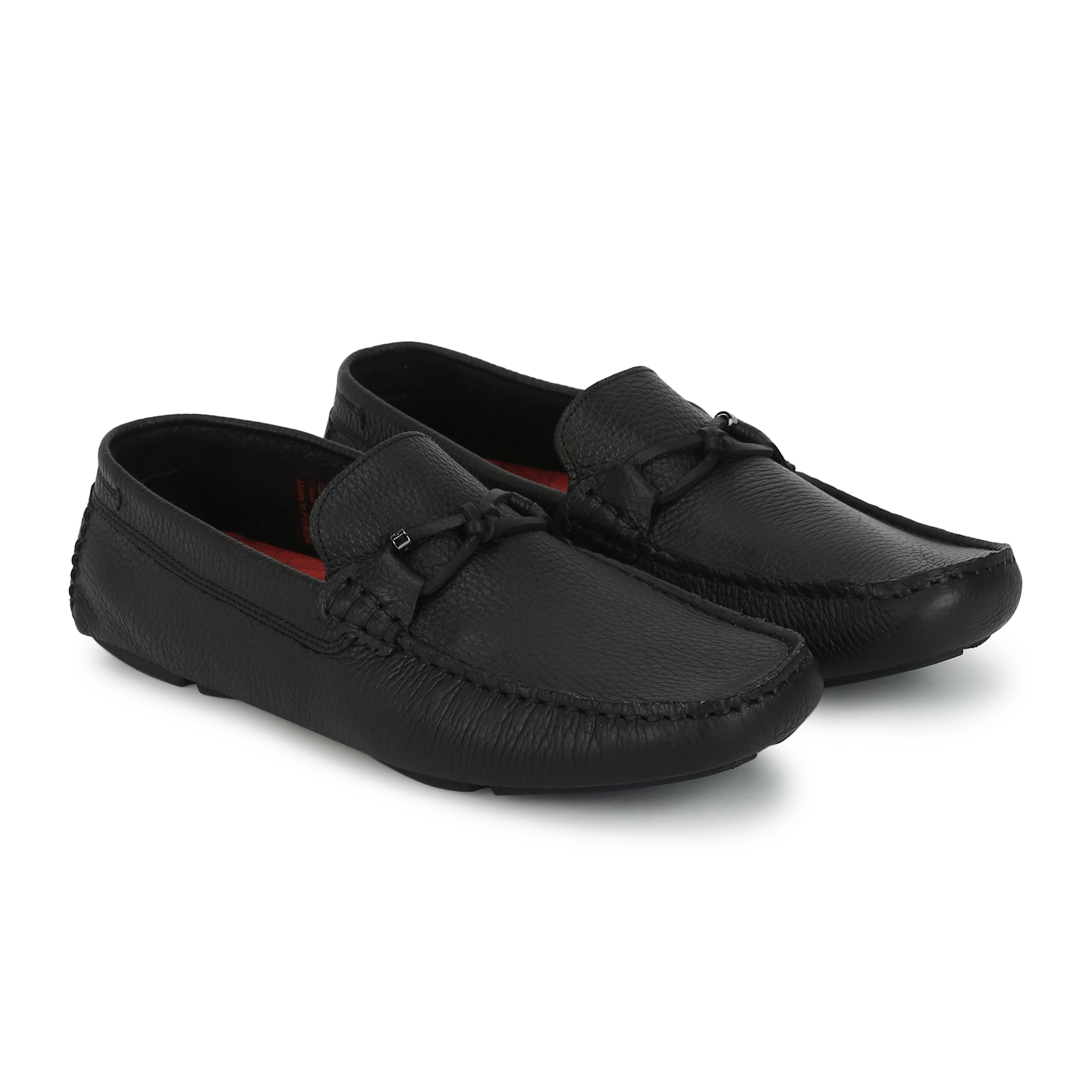 black leather driving loafers